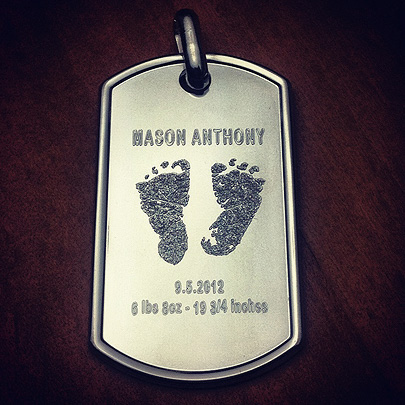 Custom dog tag with baby foot prints and birth details