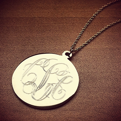 14k Gold Monogram Disc Necklace