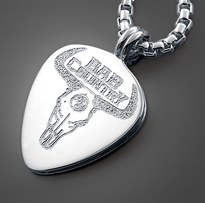 Custom Engraved Men's Guitar Pick Necklace