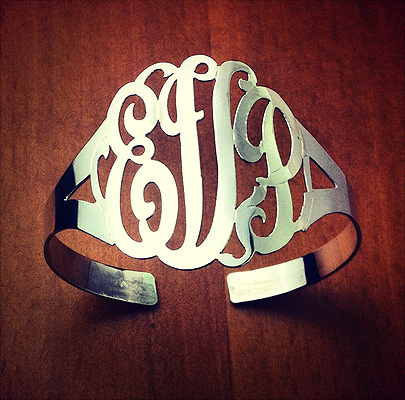 Sterling Silver 3-Initial Lace Monogram Cuff Bracelet