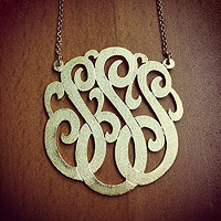 Three Initial Lace Monogram Necklaces