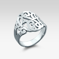 Sterling Silver Three Initial Monogram Ring
