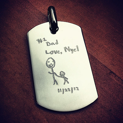Custom dog tag with engraved kids art for dad