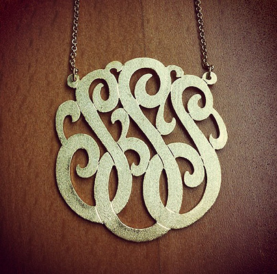 14k Gold Lace Monogram Initial Necklace