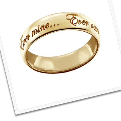Custom Engraved Men's 18k Gold Wedding Band with Vows
