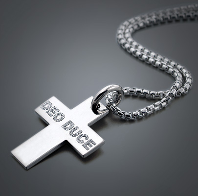 Engraved Men's Silver Cross Necklace