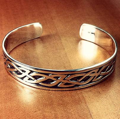 Mens Sterling Silver Celtic Cuff Bracelet
