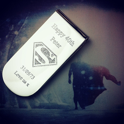 Custom Engraved Money Clip with Superman Logo
