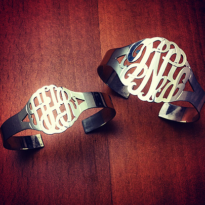 Cut Out Initial Monogram Cuff Bracelets