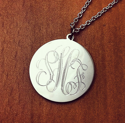 Sterling Silver Monogram Disc Necklaces