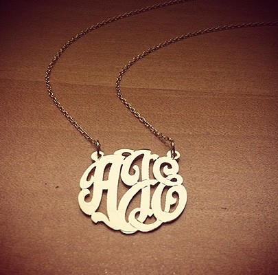 Lace Monogram Initial Necklace in 14k Gold