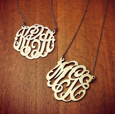 Cut Out Monogram Initial Necklaces