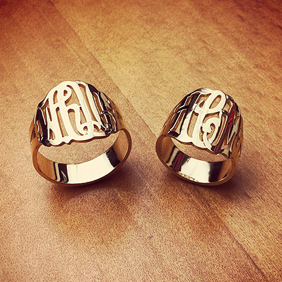 Cut Out Initial Monogram Rings