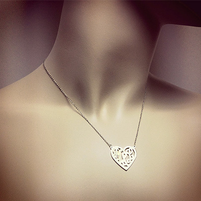Sterling Silver Cut Out Initial Heart Necklace
