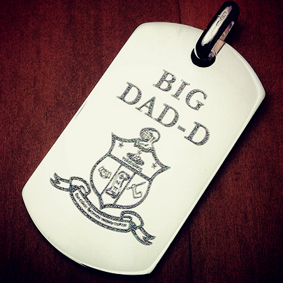 Custom Engraved Mens Sterling Silver Dog Tag with Kappa Alpha Psi Fraternity Crest and Fraternal Name