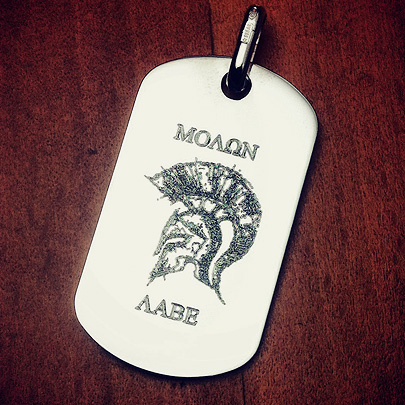 Custom Engraved Mens Sterling Silver Dog Tag with Molon Labe and Helmet Art