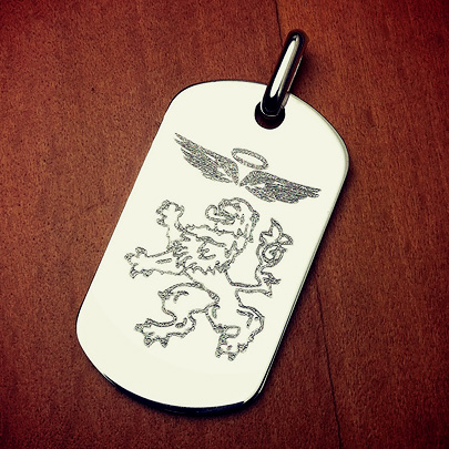 Custom Engraved Mens Sterling Silver Dog Tag with Family Coat of Arms