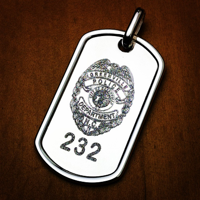 Custom Engraved Mens Sterling Silver Dog Tag Necklace with Police Badge