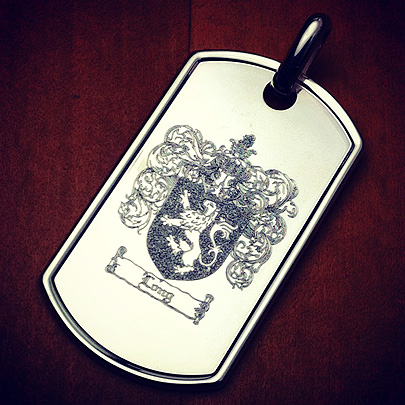 Custom Engraved Men's Dog Tag with Family Crest