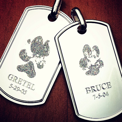 Custom Engraved Sterling Silver Memorial Dog Tags with Pet Paw Prints
