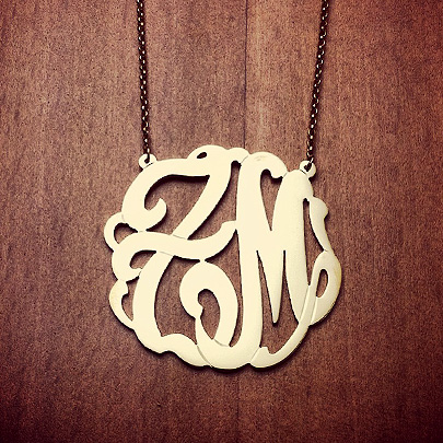 14k Gold Plated ZM Two Initial Monogram Necklace