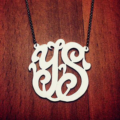 Sterling Silver YS Two Initial Monogram Necklace