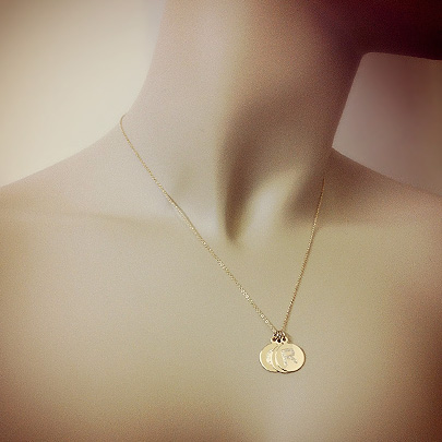14k Gold Etched Initial Disc Pendants
