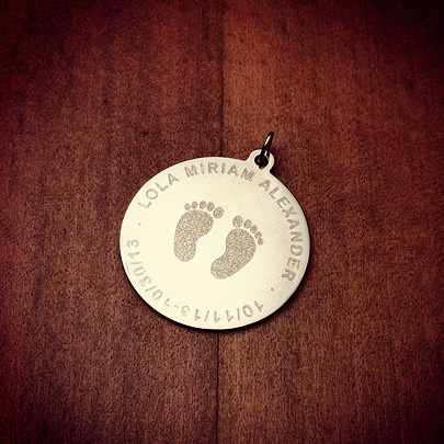 7/8 inch, Solid 14k Gold Baby Footprint Disc Charm Necklace