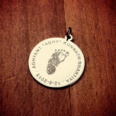 14k Gold Custom Engraved Baby Footprint Disc Necklace for Mom