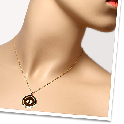 Custom Baby Footprint Charm Necklace for New Mom in 14k Gold