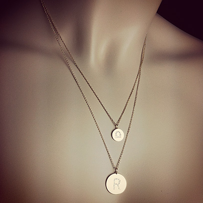 Diamond Initial Disc Necklaces
