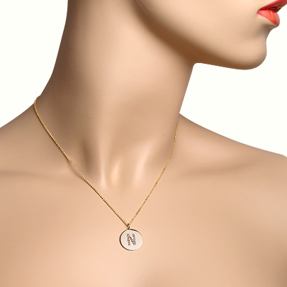 14k Gold Micro-Pave Diamond Initial Disc Necklace