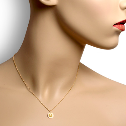 14k Gold Petite 3/8 inch Etched Initial Disc Necklace