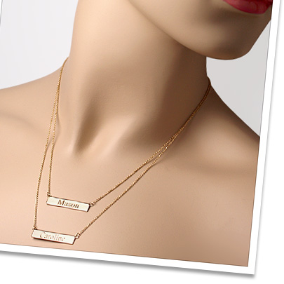Custom Engraved Name Bar Necklace for New Mom in 14k Gold