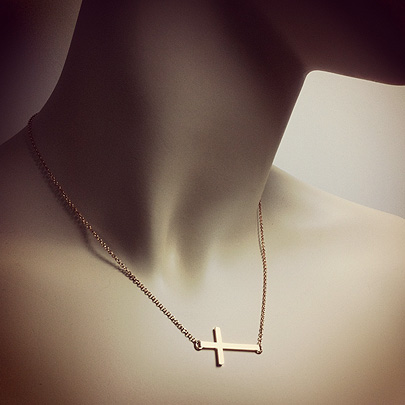 14k Gold Sideways Cross Necklace 1 Inch