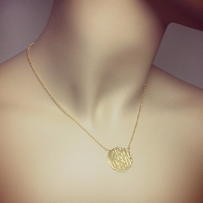 14k Yellow Gold Cut Out 3 Initial Monogram Necklace
