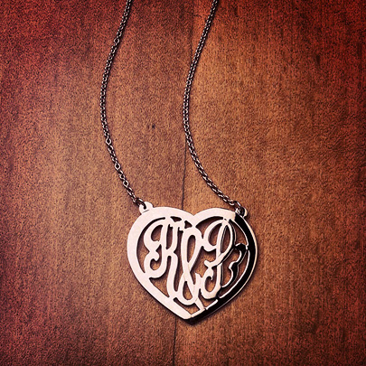 14k Rose Gold Cut Out Initial Heart Necklace
