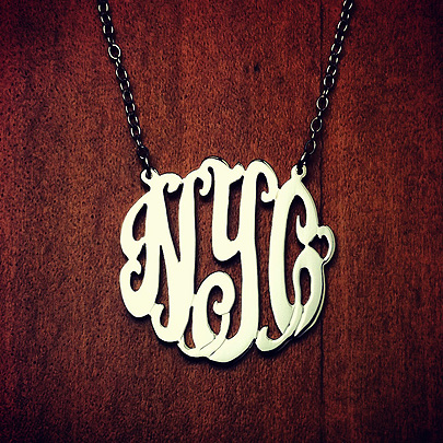 Sterling Silver NYC Initial Monogram Necklace