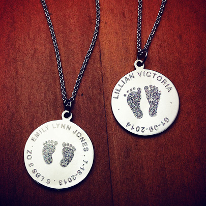 7/8 inch, Sterling Silver Baby Footprint Disc Charm Necklace for New Mom