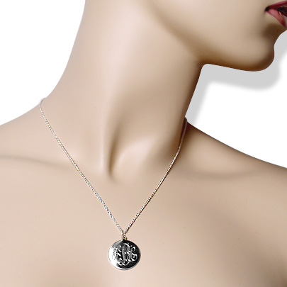 Sterling Silver Monogram Disc Necklace