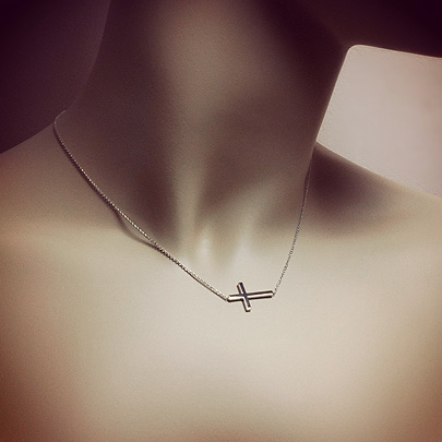 Kay Wicks Sideways Cross Necklace in Sterling Silver