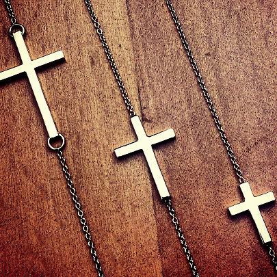 14k Gold Sideways Cross Necklaces