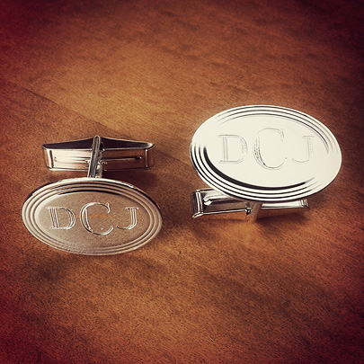 Sterling Silver Vintage Oval Framed Monogram Cufflinks