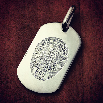 Small Dog Tag Customized with Police Badge Engraving