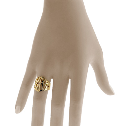 Gold Three Initial Lace Monogram Ring
