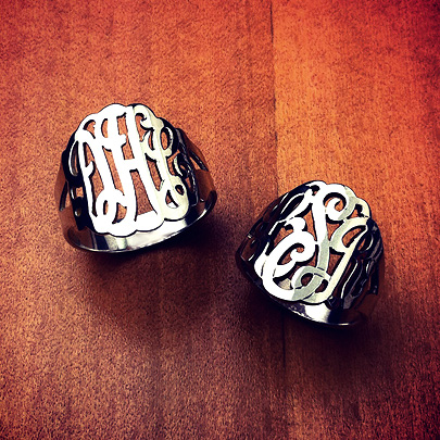 Sterling Silver Three Initial Lace Monogram Rings