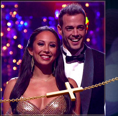 Kay Wicks Sideways Cross Necklace for Cheryl Burke on Dancing With The Stars