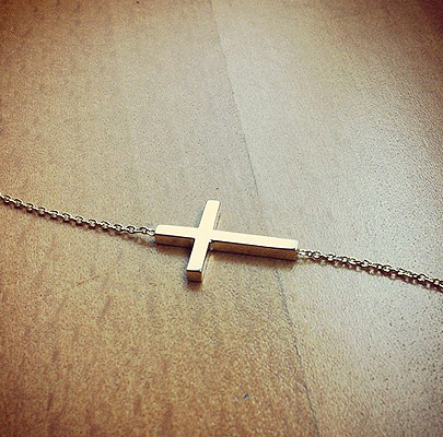 Solid 14k Gold Sideways Cross Necklace