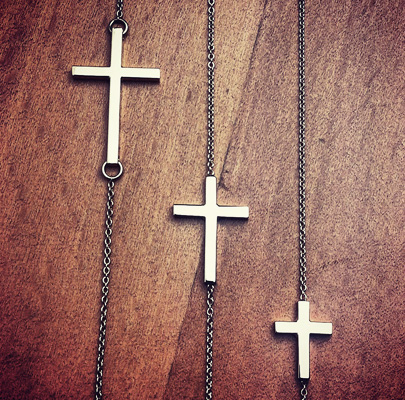 Kay Wicks Sideways Cross Necklaces