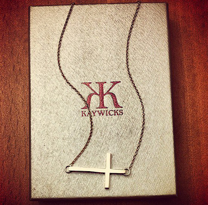 Kay Wicks 14k Gold Sideways Cross Necklace 1 Inch